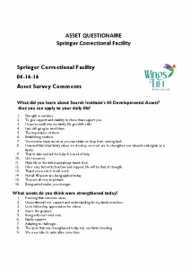 04-16-16 Asset Questionnaire – SPRINGER CORRECTIONAL FACILITY
