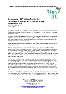 06-01-19 Wings Family Day Guadalupe County Correctional Facility Comments