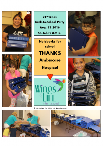 08-13-16 Ambercare Hospice – Notebooks for Back-To-School Wings Family Day