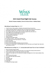 2015 Adult Final Night Exit Survey – WRA, Diersen & Other Halfway Houses
