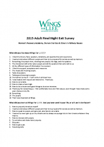 2015 Adult Final Night Exit Survey