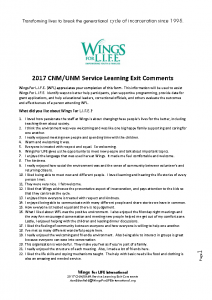 2017 CNM-UNM Service Learning Exit Comments 01-18-18