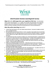 2018 Student Service Learning Exit Survey FINAL