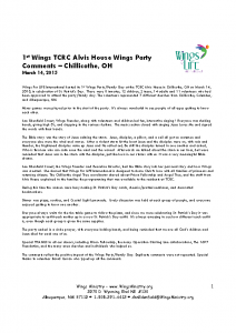 TCRC Alvis House – Chillicothe, OH Wings Party – 3-14-15