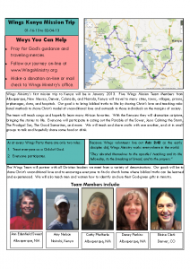 Flyer – Kenya Wings Mission Trip 2013