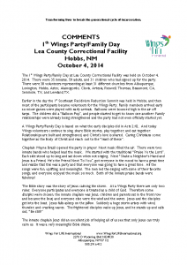 Lea County Correctional Facility – 1st Wings Party-Family Day, 10-4-14