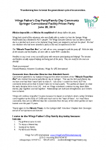 Springer – Wings Father's Day Prison Party Comments pt. 2 06-28-2014