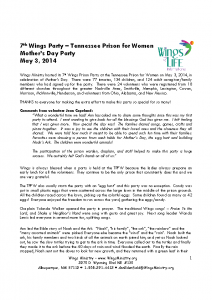 Tennessee Prison for Women – Mother's Day Party – 05-03-14