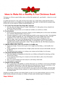 Ideas to Make This a Healthy and Fun Christmas Break