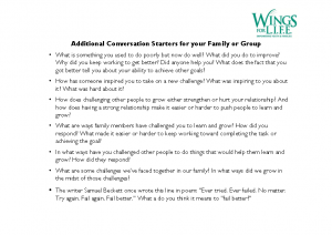 Additional Conversation Starters for your Family or Group